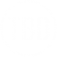 TBD roundel logo white Oswald